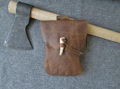 Medieval Leather Pouch / Belt Bag Handmade by FolkOfTheWoodCrafts, $30.00
