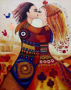 """""""El beso"""", en la concepción de Canan Berber: «Acyrilic & Mixed Media on Canvas»."""