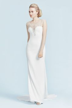 A sexy wedding dress with an illusion lace back. Crepe Wedding Dress, Making A Wedding Dress, Sexy Wedding Dresses, Casual Wedding, Wedding Gowns, Custom Dresses, Unique Dresses, Wedding Dress Patterns, Plus Size Gowns