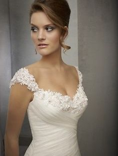 Sexy White/Ivory Wedding Dress Bridal Gown Custom Size 2 4 6 8 10 12 14 16 18 20 Long Gown For Wedding, Bridal Dresses, Western Wedding Dresses, Ivory Lace Wedding Dress, Romantic Wedding Dresses, Wedding Gowns, Bridesmaid Dresses, Dresses Dresses, Lace Decor