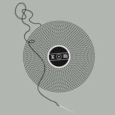 stitched vinyl record 33rpm