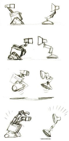 Wall-e and the iconic Pixar lamp! So cute #pixar #charactersketches #animation