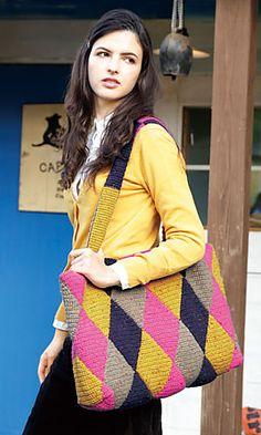 215aw-16 Rhombus Design Bag By Pierrot (Gosyo Co., Ltd) - Free Crochet Diagram - See http://gosyo.co.jp/english/pattern/eHTML/ePDF/1510/215aw-16_Rhombus_Design_Bag.pdf For PDF Diagram - (ravelry)