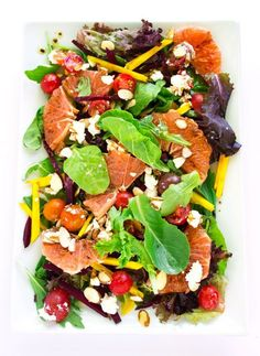 Green Salad with Grapefruit and Red & Golden Beets + Balsamic Dressing - A super healthy and gorgeously delicious salad that is quick…