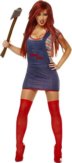Sexy Chucky Adult Costume Costume Extra 20% off discount! Get this Halloween costume and all Halloween products found in the Social Media Exclusive section for an extra 20% off with code use. CODE: SLASHER2012 EXPIRES: October 27th VISIT: http://www.trendyhalloween.com/social-media-exclusives-C398.aspx?afid=15