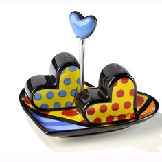 Britto Heart Salt & Pepper Shakers With Tray