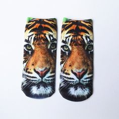 3D Tiger Print Crazy Socks ($2.71) ❤ liked on Polyvore featuring intimates, hosiery, socks, tiger print socks and tiger stripe socks
