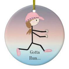 Gotta Run Female Running Figure Christmas Tree Ornament #running