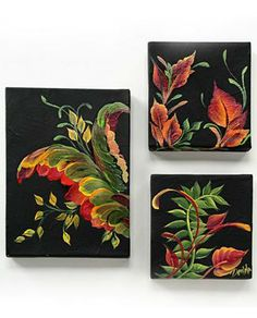 FolkArt® One Stroke™ Contemporary Leaf Scroll Canvas Trio!