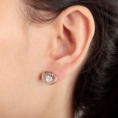 Copper Cubic Zirconia Heart Earrings Stud Gold Plated
