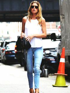 White Tank + Skinny Jeans