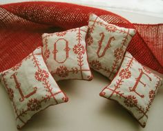 Redwork Cross Stitched Valentine LOVE Shelf by CherieWheeler, $32.00