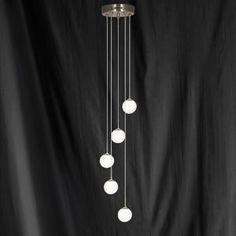 Searchlight Atom 5 Light Ceiling Pendant Satin Silver - Home Lighting Store UK Ceiling Light Fittings, Chandelier Ceiling Lights, Ceiling Pendant, Lighting Store, Home Lighting, Curtains, Silver, Lounge, Satin