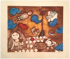 "Leticia Tarrago (Mexican, b. 1940), ""Cuarto de Juegos"" (Play Room), etching in colors, signed and numbered"