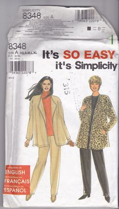 Simplicity 8348 Pattern Uncut All Sizes XS S M L XL Loose Fit Flowing Jacket Pull On Pants Great for Knits