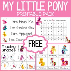 Theme Based Printables for Tot School, Preschool and Kindergarten. MANY FREE printables for early childhood! Free Preschool, Preschool Printables, Preschool Ideas, Preschool Crafts, Toddler Learning Activities, Preschool Activities, My Little Pony Printable, Daniel Tiger, Tot School