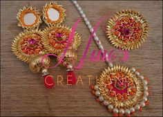 Nino's Creations Gota Jewellery India Jewelry, Ethnic Jewelry, Antique Jewelry, Gota Patti Jewellery, Thread Jewellery, Wedding Accessories, Wedding Jewelry, Jewelry Patterns, Crochet Earrings