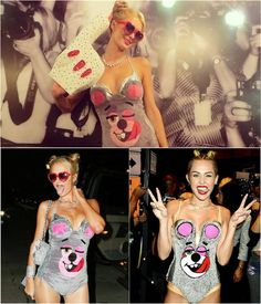 Paris Hilton dressed in  Miley Cyrus Costum an Halloween