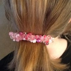 Pink & White glass beads hair clip