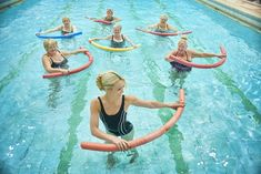 """The most important factor for improving cardiorespiratory fitness (cardio or CR) is the intensity of the workout. Changes in CR fitness are directly related to how """"hard"""" an aerobic exercise is performed. Pool Noodle Exercises, Water Aerobic Exercises, Swimming Pool Exercises, Pool Workout, Aerobics Workout, Abdominal Exercises, Back Exercises, Water Workouts, Bike Workouts"""