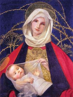 Madonna And Child,  Marianne Stokes (1855 – 1927, Austrian-born English), I AM A CHILD-children in art history-blog