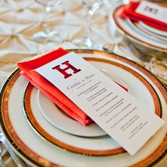 Cute way to show the menu and pop of color from the napkin.  New initial cut-out!