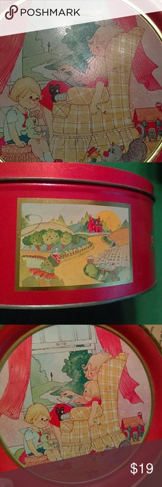 Large Vintage Keepsake Tin Vintage tin in nice condition. Perfect for pictures, sewing items, jewelry or keepsakes. A few flaws but overall great color and images Other