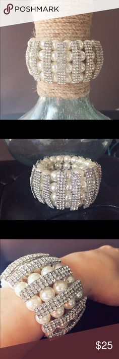 """Pearl Bracelet Pearl Bracelet stretchy style. 1 1/2"""" tall. NIB ✔️10% off 2 items ✔️Pay 1 shipping fee on bundles✔️Interested but want a better price? Make an offer using the offer button. Jewelry Bracelets"""