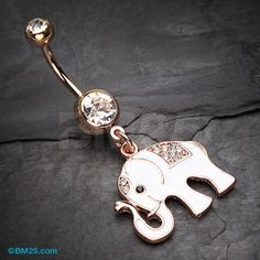 Rose Gold Maharajas Elephant Sparkle Belly Button Ring