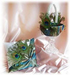Peacock Feathers Flower Girl Basket and Ring Bearer by All4Brides, $80.00