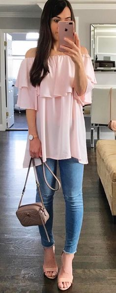 beautiful outfit blouse + bag + skinnies