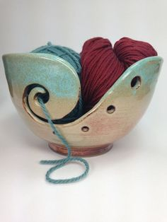 MADE TO ORDER, Rustic Knitting Bowl, Ceramic Yarn Bowl, Cream and Green Crochet Bowl, Jumbo Yarn Holder, Gifts for Knitters, Handmade Pottery, Large Korean Bowl, Yarn Bowls, Pottery Yarn Bowls, Clay Knitting Bowls, Shino Bowls, Clay Yarn Organizer *******************THIS BOWL IS MADE TO