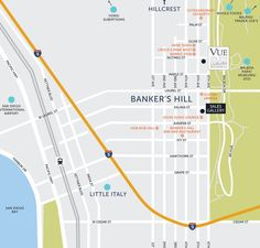 Vue on 5th map - new construction coming soon to Bankers Hill Balboa Park