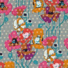 Manufacturer: Westminster / Free Spirit (PWAH050_PLATINUM)  Designer: Anna Maria Horner  Collection: Field Study  Print Name: Raindrops Poppies in Platinum