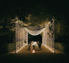 Dinner under a curtain of fairy lights Private Wedding, Dream Wedding, Light Wedding, Wedding Designs, Wedding Styles, Wedding Ideas, Fairy Light Curtain, Bali Style Home, Wedding Design Inspiration
