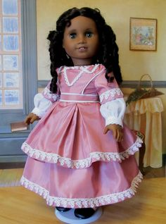"""1860's Evening Dress - Fits 18"""" American Girl Doll Addy,Cecile or Marie-Grace. Made By KeeperDollyDuds"""
