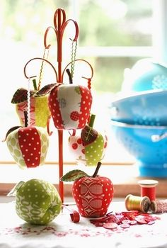 fabric apples could be cool for a wreath or the tree.