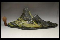 【緑屋】天然石*水石*遠山石*緑石*飾り石*木製台付/重量8.4kg*c