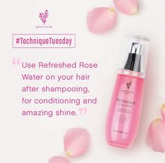 #TechniqueTuesday: After your shower, spray a little Refreshed Pure & #Natural Rose Water on your #hair before drying. It'll condition your hair and give it amazing shine at the same time.  Do you have your own tips for using #Refreshed? Share them in the comments below!  Visit www.TheDazzleEffect.com #TipTuesday #Younique #makeup #mineral #beauty