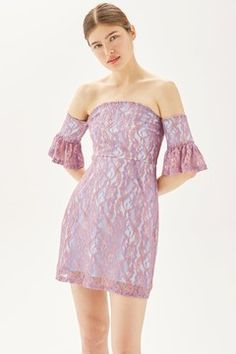 Invest in a pretty party piece with this lace bardot dress in neon lilac, featuring fluted sleeves for a romantic touch. We love the off-shoulder finish for a subtle exposure of skin. Casual Dresses, Short Dresses, Formal Dresses, Homecoming Dresses Under 100, Bardot Dress, Lilac, Luxury Fashion, Party Dress, Dress Up