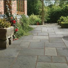 Pavestone Tanners Mill Grey Green antique style concrete patio or garden paving slabs. Concrete Paving Slabs, Paving Stone Patio, Outdoor Paving, Patio Slabs, Paving Stones, Concrete Patio, Grey Paving, Concrete Flags, Sandstone Paving Slabs