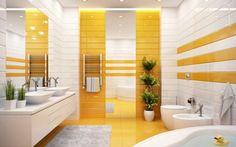 idées déco salle de bain - meuble sous vasques blanc neige, carrelage sol jaune et plafond design