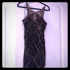 PARKER SEQUIN BEADED OPEN BACK COCKTAIL DRESS Party cocktail Cami strap sequin beaded pink black silver dress! So pretty. Worn once. Great condition. Parker Dresses