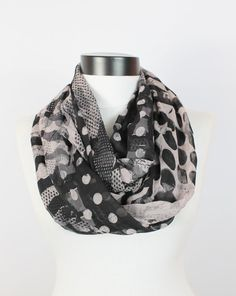 Gray chiffon scarf infinity by twobirdsgirl on Etsy, $9.90