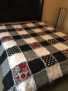 Full size black and white rag quilt 10 inch squares