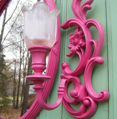 Wall Mirror and Sconce Set Vintage Syroco by GloryBDesign on Etsy, $120.00