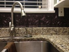Stainless steel faux metal tin backsplash roll by CTBU Design