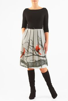 I <3 this Bird print belted mixed media dress from eShakti