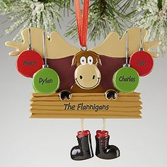 Merry Chris-moose©Personalized Ornament- 4 Name