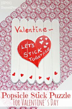 This Valentine Popsicle Stick Puzzle is the sweetest. It's a fun kid craft for Valentine's Day and is a really cute idea as a class exchange vs. regular V-Day cards. Super super cute!